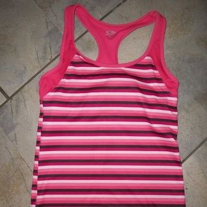 Champion Pink Striped Racerback Sports Running Top